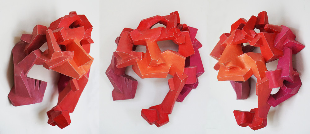 Red cubist mask